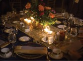 The Alumni of Influence Gala featured a dinner with elegantly adorned tables in the Kinyon-Koeppel Grand Hall.