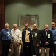 Members of the Jackling Jocks from left, Bill Engelhardt, ME'60; Newton Wells, ME'59; Dick Boyett, CE'58; Art Bell, ChE'75; Don McGovern, ME'58; Bob Lewis, CE'61.