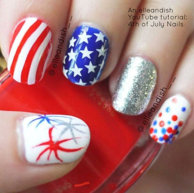 4th Of July Love Heart Nails By Kasey Ca
