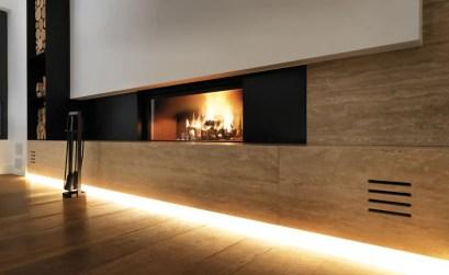 caminetto su misura palazzetti con portalegno - casa privata pordenone