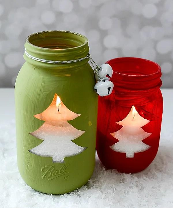 candele natalizie in barattoli in vetro