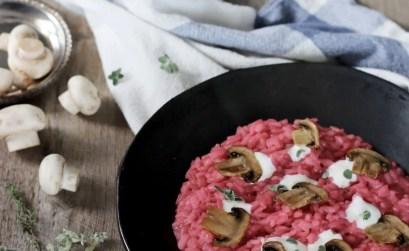 Risotto alla barbabietola con funghi e pecorino