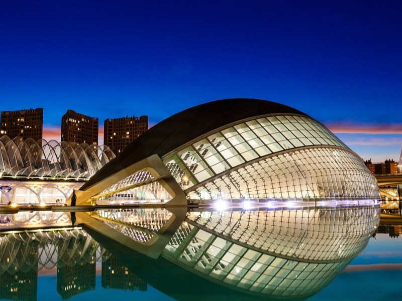 Museums in Valencia at night