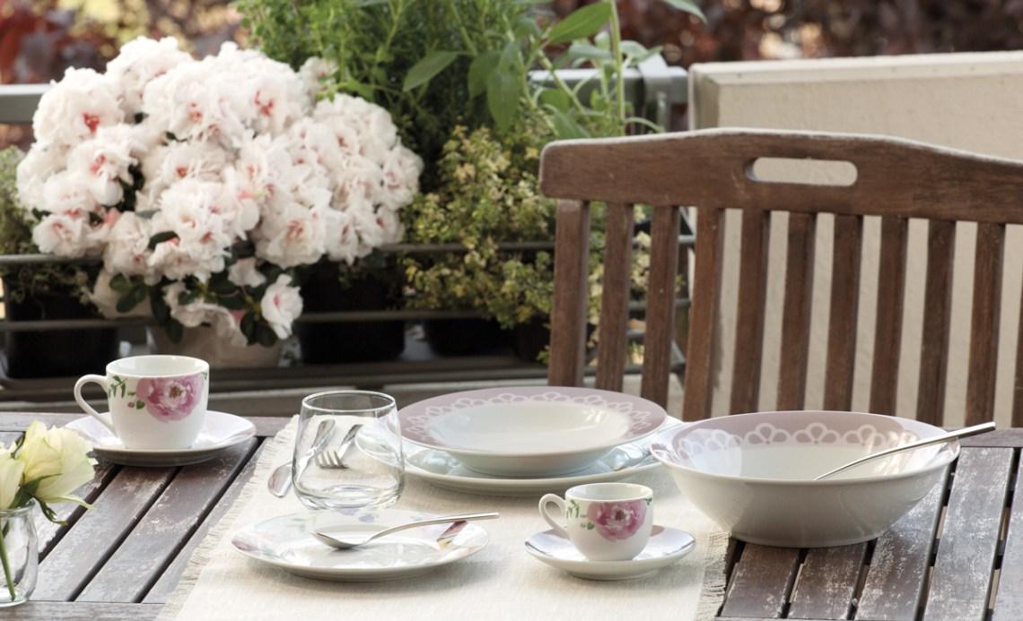 arredare con il rosa - servizio piatti e tazzine linea olimpia romance