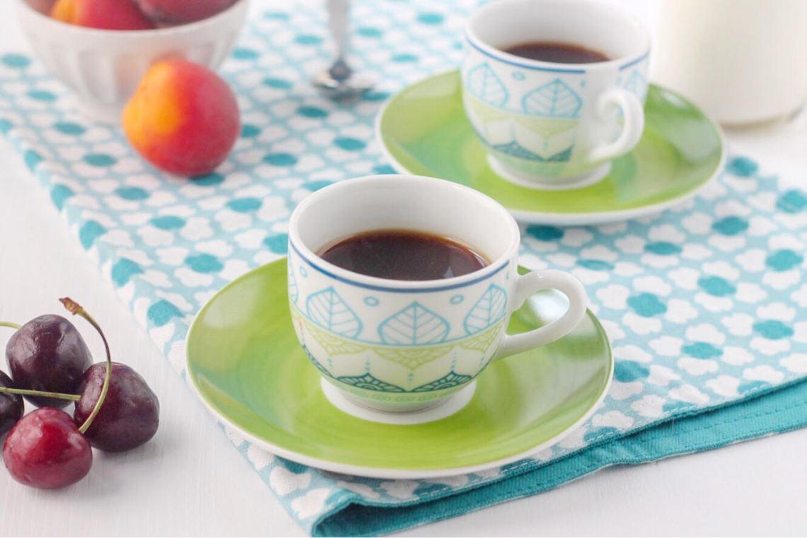 tazzine da caffè verdi e azzurre della linea olimpia ginger tognana