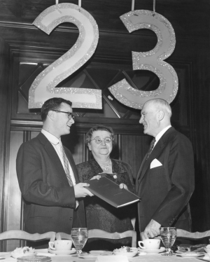 Irwin Metzger, President of the University of Cincinnati Student Council, is shown left above with Mrs. Raymond Walters and Dr. Walters at the UC Student testimonial dinner in 1955. - Enquirer (Cornelius) Photo.