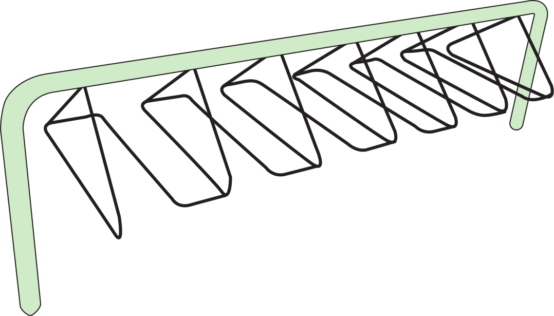Illustration: coat hanger-style bike rack
