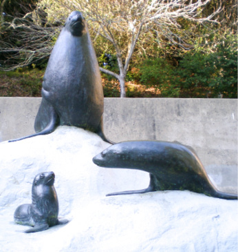 Sea Lion statues by Thimann Lecture Hall