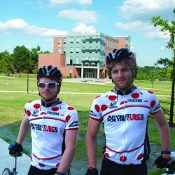 Two bikers on campus