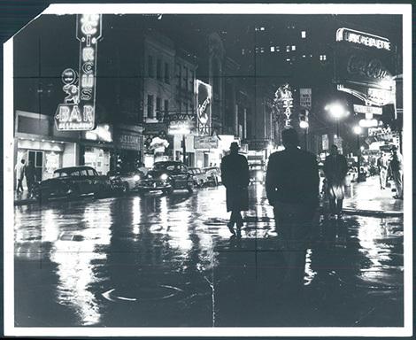black and white city night life