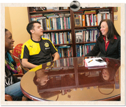"""Nancy Young says residence halls are a key part of the """"cultural interaction"""" at UMBC."""