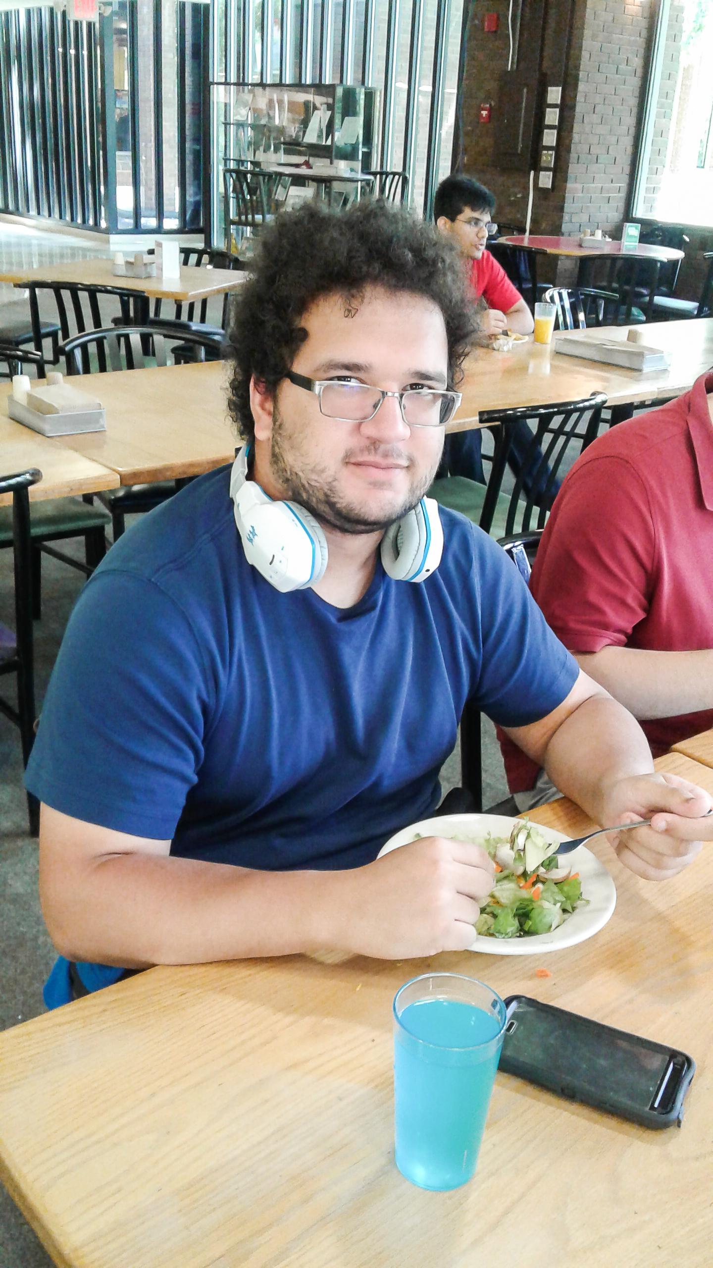 Chad Brown eats dhall salad