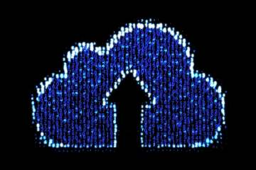 glowing numbers light up cloud and arrow