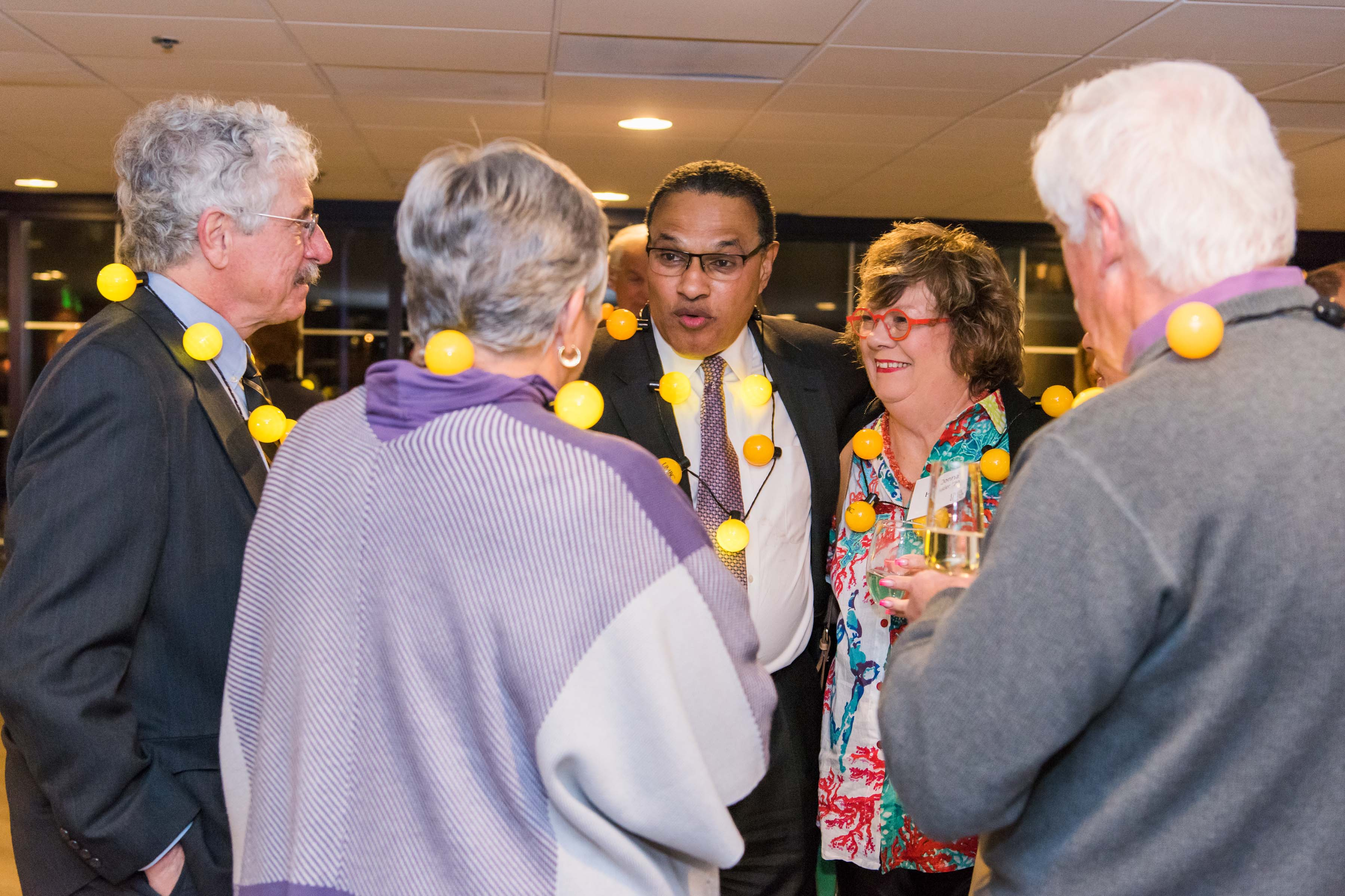Hrabowski talks with group at Pier5 reception