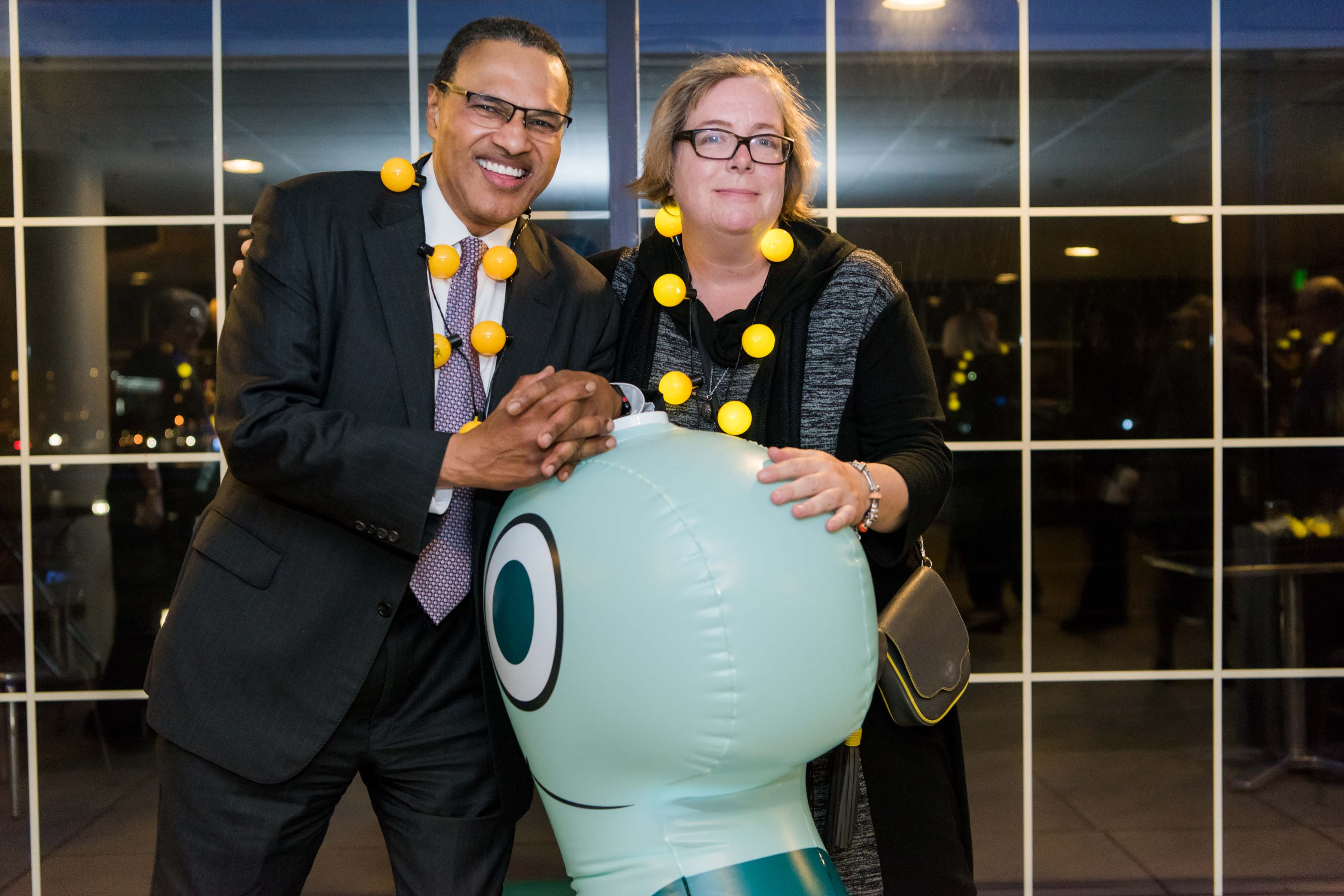 Hrabowski and other pose with blow up animal