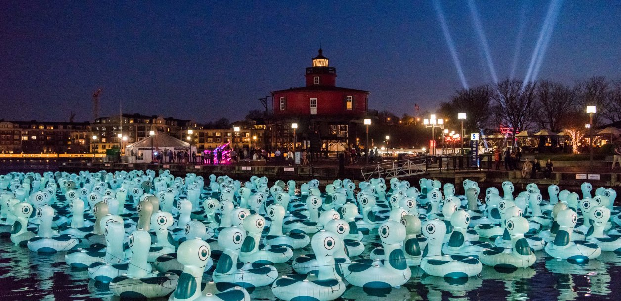 Baltimore Harbor covered in inflatable blue creatures