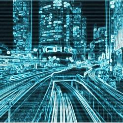 lights outline city scape