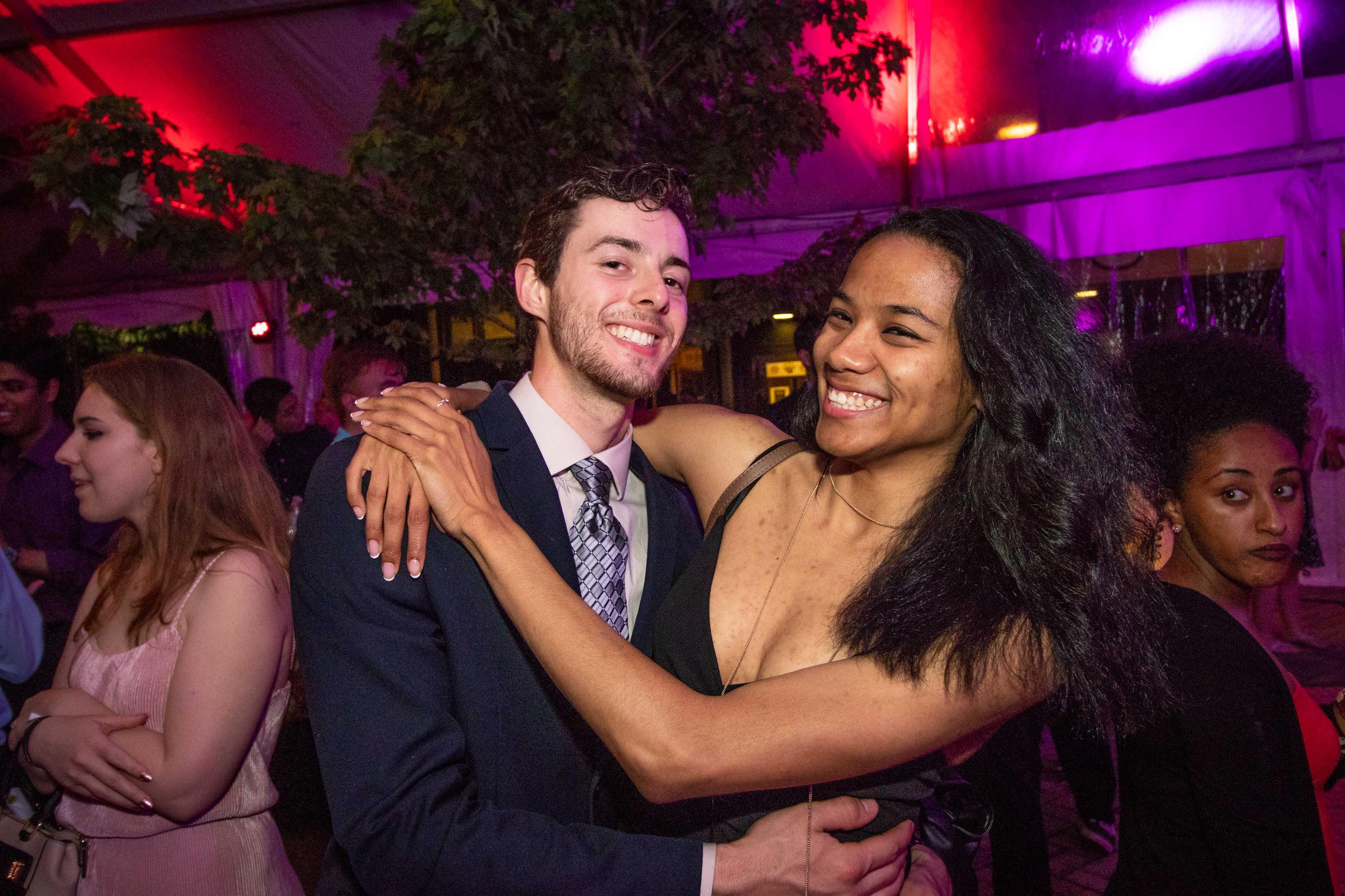 Couple hug at Grad dance