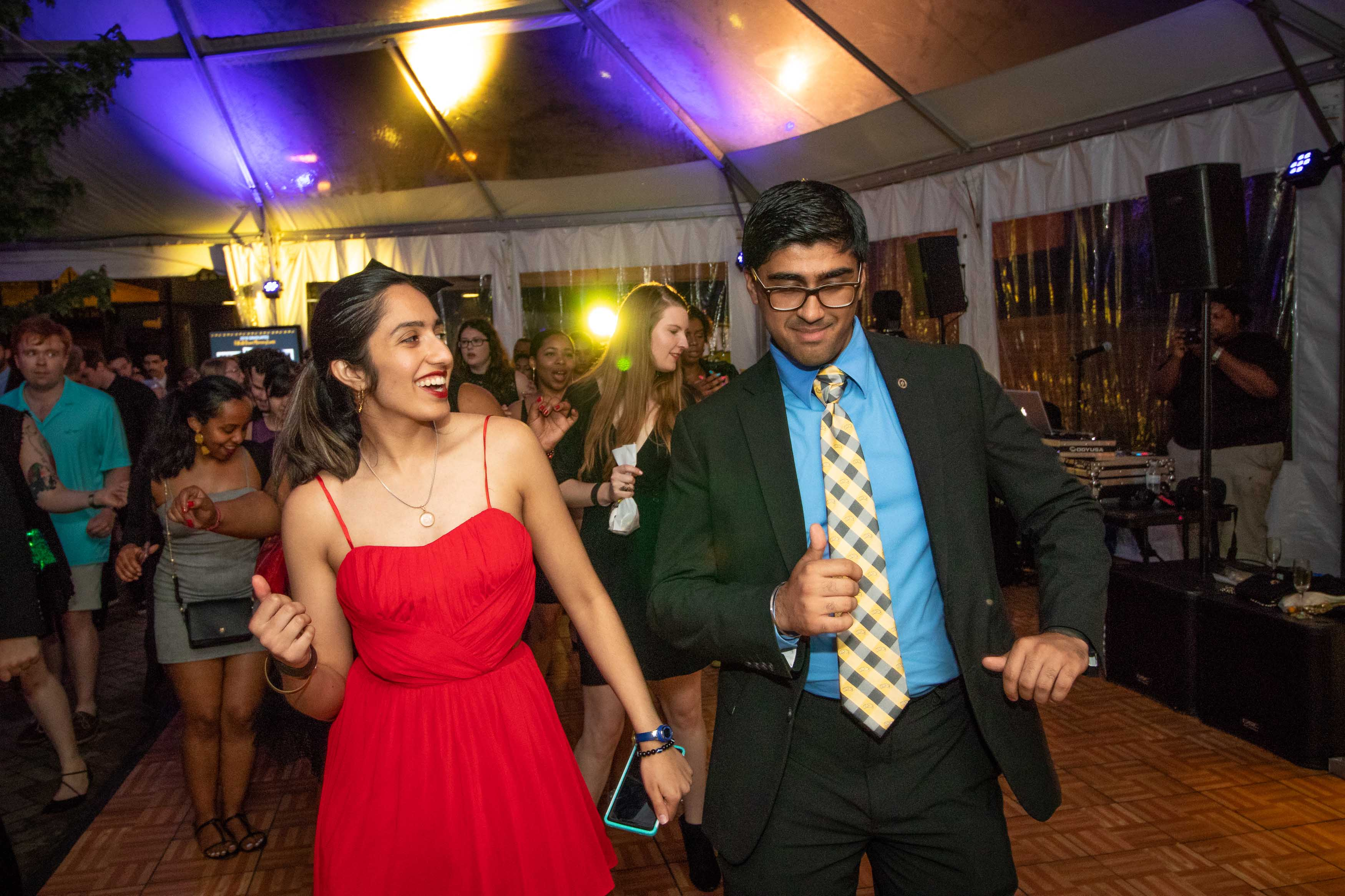 Two people dance together at Grad dance