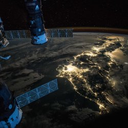 View of Japan as shot from space by astronaut Scott Kelly.