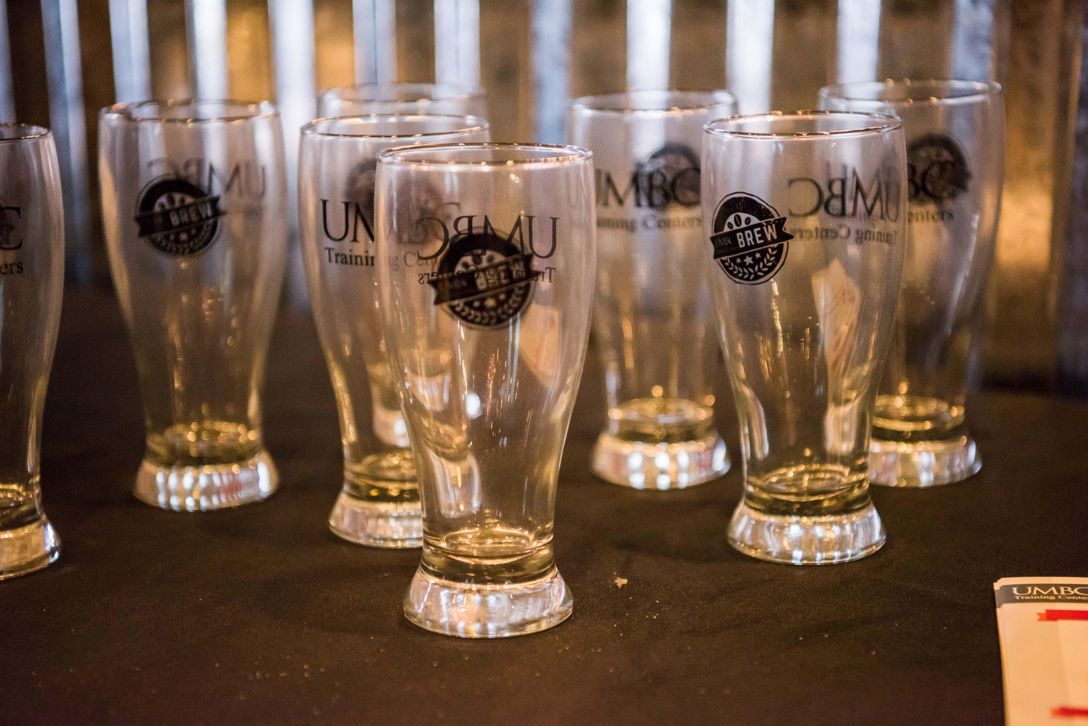 UMBC brew glasses