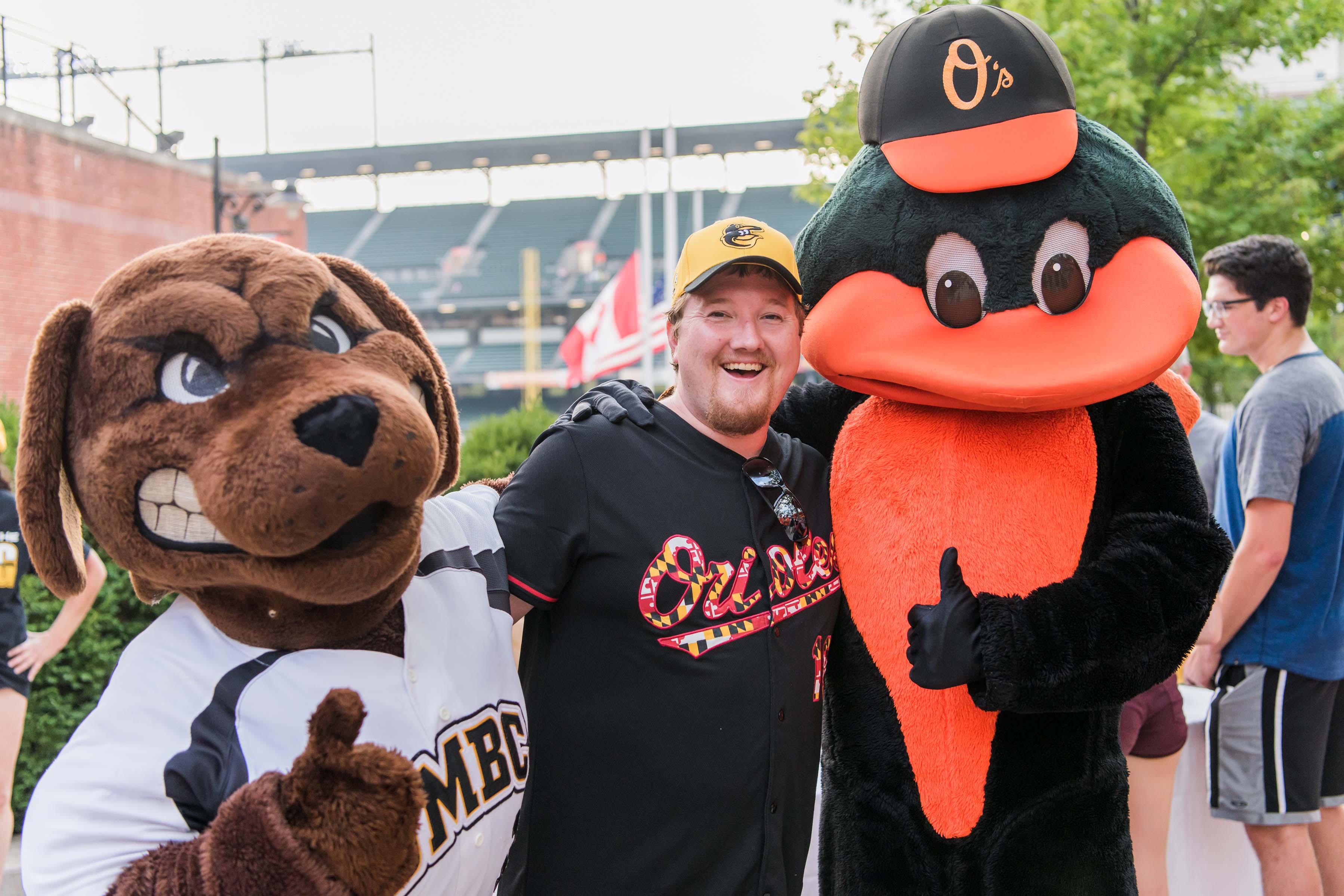 UMBC mascot with Orioles Mascot