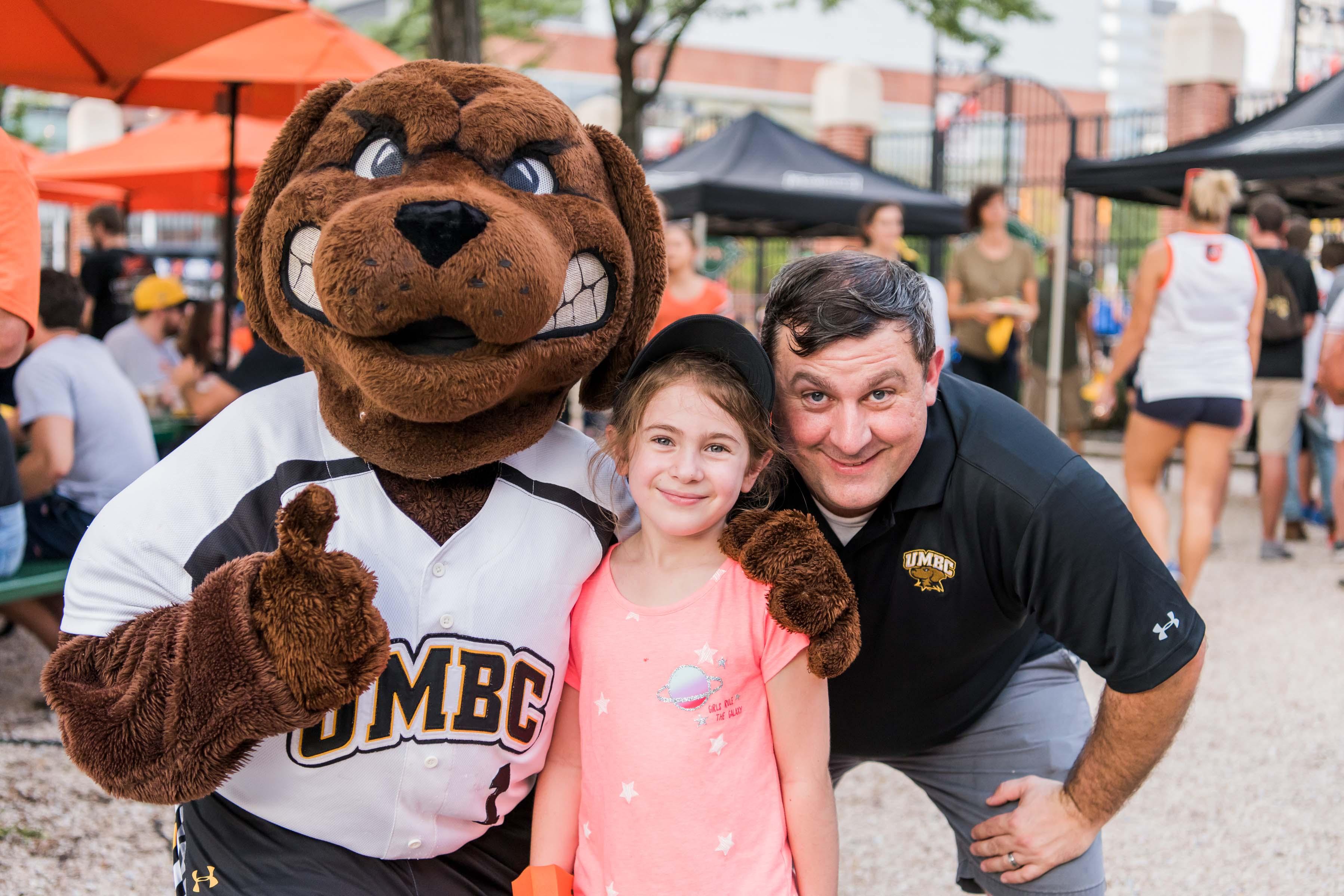 UMBC Mascot and fans at Camden Yards