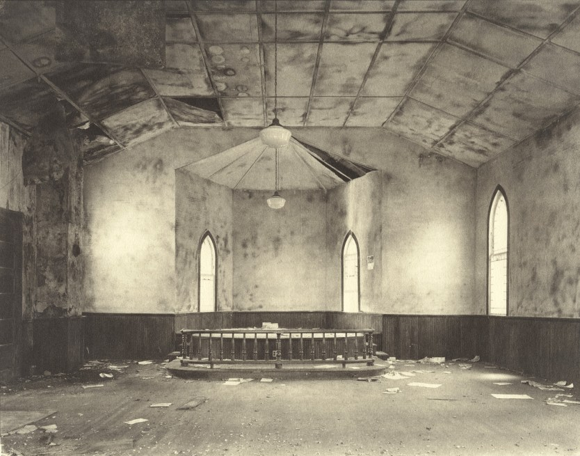 Steve Szabo, Interior, Christ M. E. Church, 1976, from the series Eastern Shore, platinum print. Collection 254 © Steve Szabo, used with permission