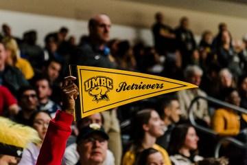 UMBC fan cheers on the Retrievers.
