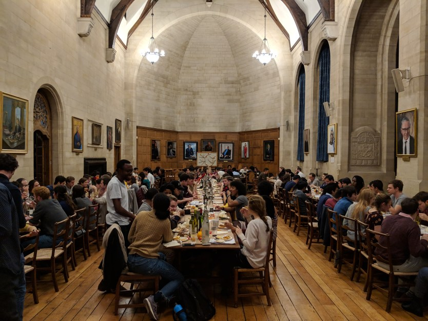 Eating an American-style Thanksgiving together in Milner Hall of the Rhodes House.