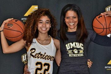 Karyn and Lyric Swann. Photo courtesy of UMBC Athletics.