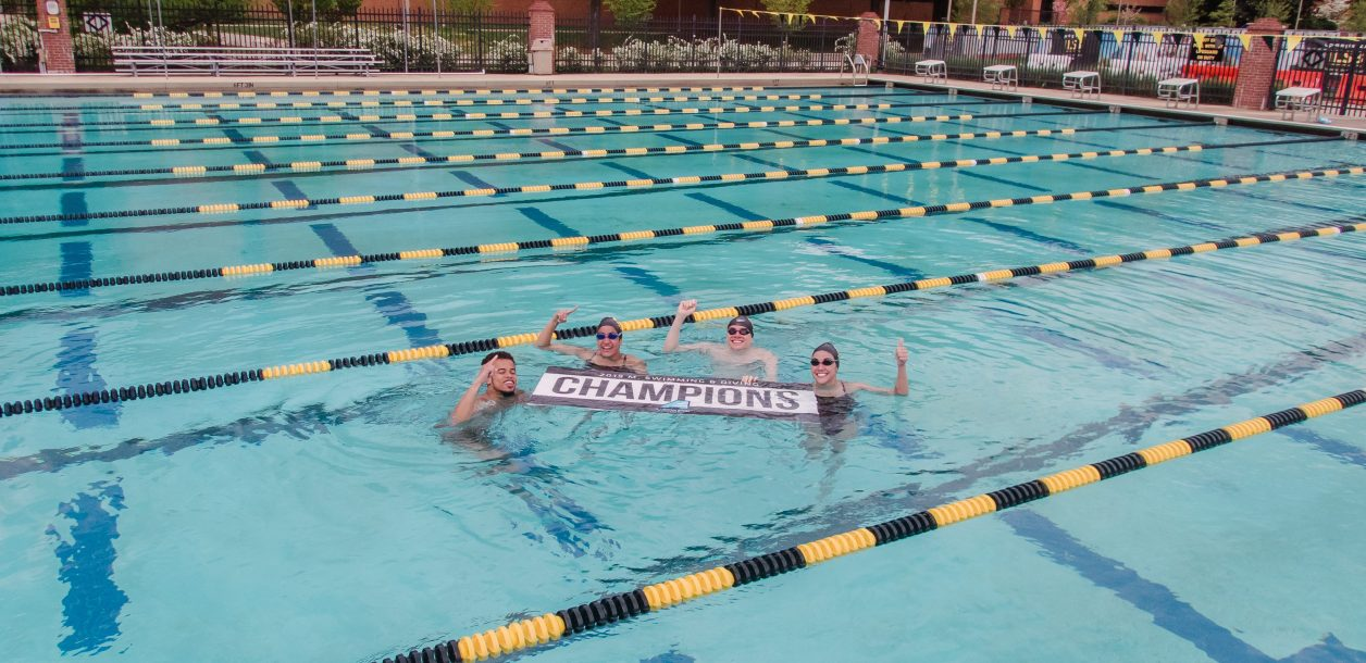 Swimmers circle around champions sign arm raised above their heads in victory pose
