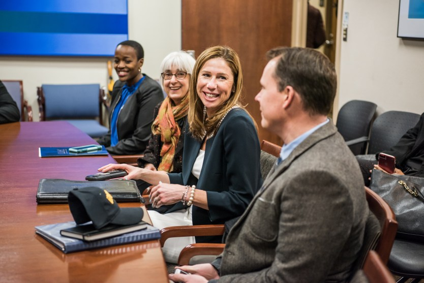 Robinson meets with UMBC representatives, including UMBC's first Rhodes Scholar, Naomi Mburu. Photo by Marlayna Demond '11.