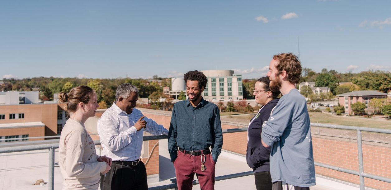 Demoz meets with students on top of the physics building. Photo by Marlayna Demond '11.