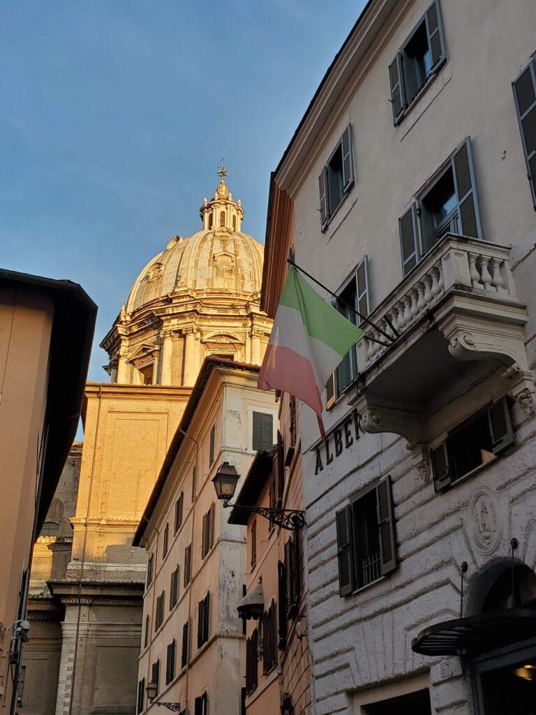 Italian flag in the Campo de' Fiori in Rome, Italy.