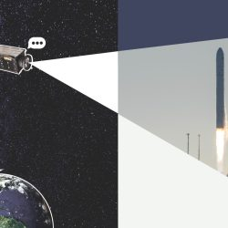 Collage graphic of HARP telescope above Earth pointed towards and image of a NASA rocket launching