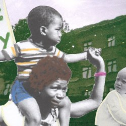 Collage of women and children protesting women's right to work