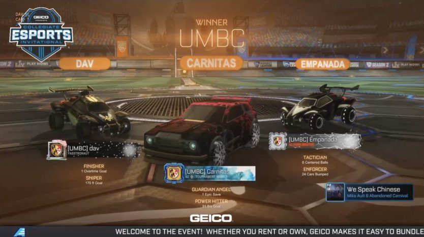 Screenshot of the winner screen from the videogame Rocket League