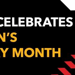 A banner depicting UMBC celebrates Women's History Month