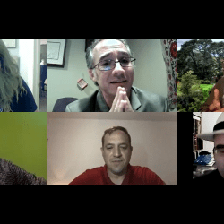 People in costumes talk on zoom call