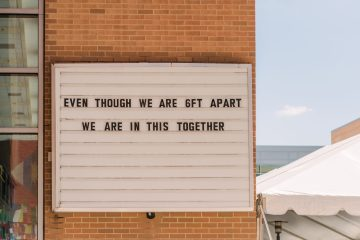 """UMBC sign outside of commons stating """"Even though we are 6ft apart we are in this together"""""""