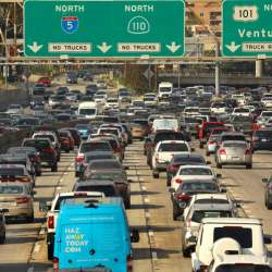 gridlock traffic on a multi-lane highway