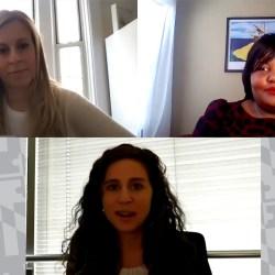 Women talk over zoom