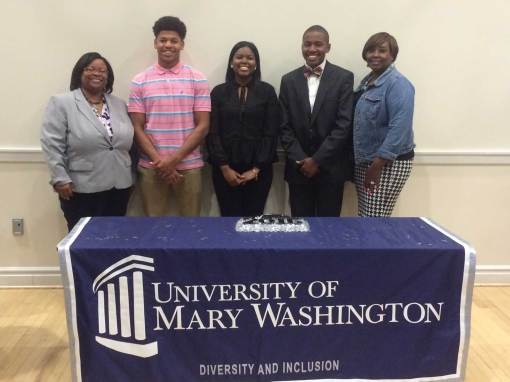 In May, Gary Lamar Boxley (second from left) and two other students were recognized for completing UMW's James Farmer Scholars Program. He headed off to college this fall.