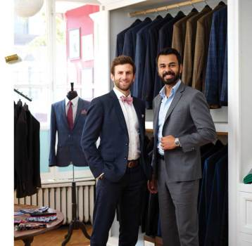 A class project led Robert Davis '12 and Abbas Haider '12 to start their clothing business, Aspetto, featuring tailored and bullet-resistant fashions. (Adam Ewing)