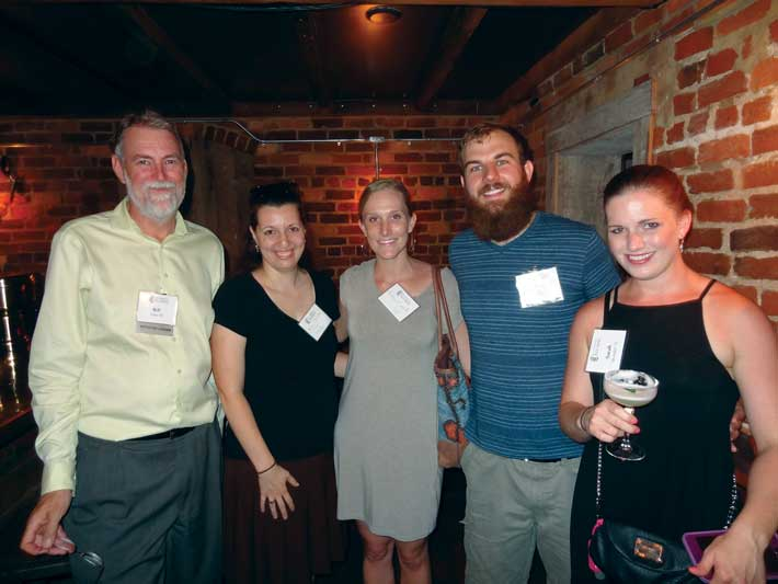 Members of the Charlottesville Regional Network including (from left) Bill Fritz '87, Melissa Celii Thackston '06, Rebecca Smith '14, Christophe Perdu '14, and Sarah Spangler '11, gathered to build a sense of connection. Registration fees were donated to Big Brothers Big Sisters of the Central Blue Ridge.