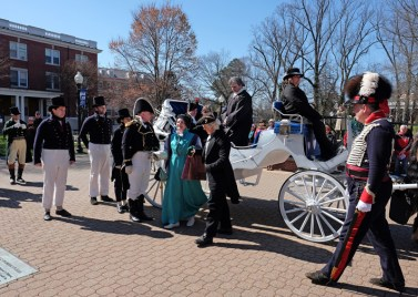 Fourth President James Madison (Charles Wissinger) and wife Dolley (Katherine Spivey) arrive by coach. (Photo by Norm Shafer)