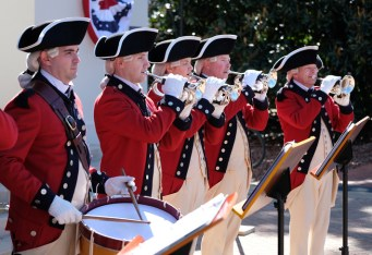 The United States Army Old Guard Fife and Drum Corps opens the ceremony with music from the early 1800s. (Photo by Norm Shafer)
