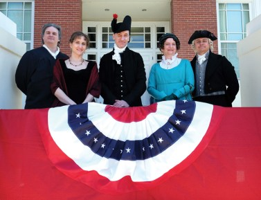 The presidential party, from left: Chief Justice John Marshall (Jarod Kearney, curator, James Monroe Museum); first lady Elizabeth Monroe (Heidi C. Stello, editorial assistant, The Monroe Papers); President James Monroe; outgoing first lady Dolley Madison; and outgoing President James Madison. (Photo by Norm Shafer)