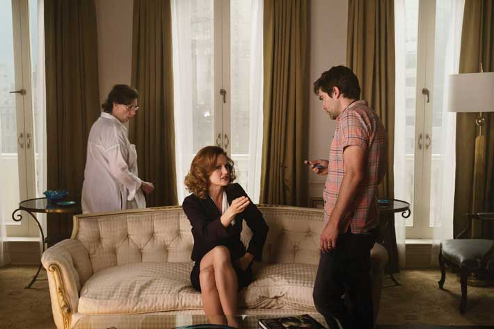 Rogers discusses a scene in season 3 with Kerry Bishé, who plays Donna Clark. Though he and Cantwell are executive producers, Rogers said they prefer to refer to themselves as showrunners, the people who have creative authority and management responsibility for a television program. Photo by Tina Rowden/AMC.